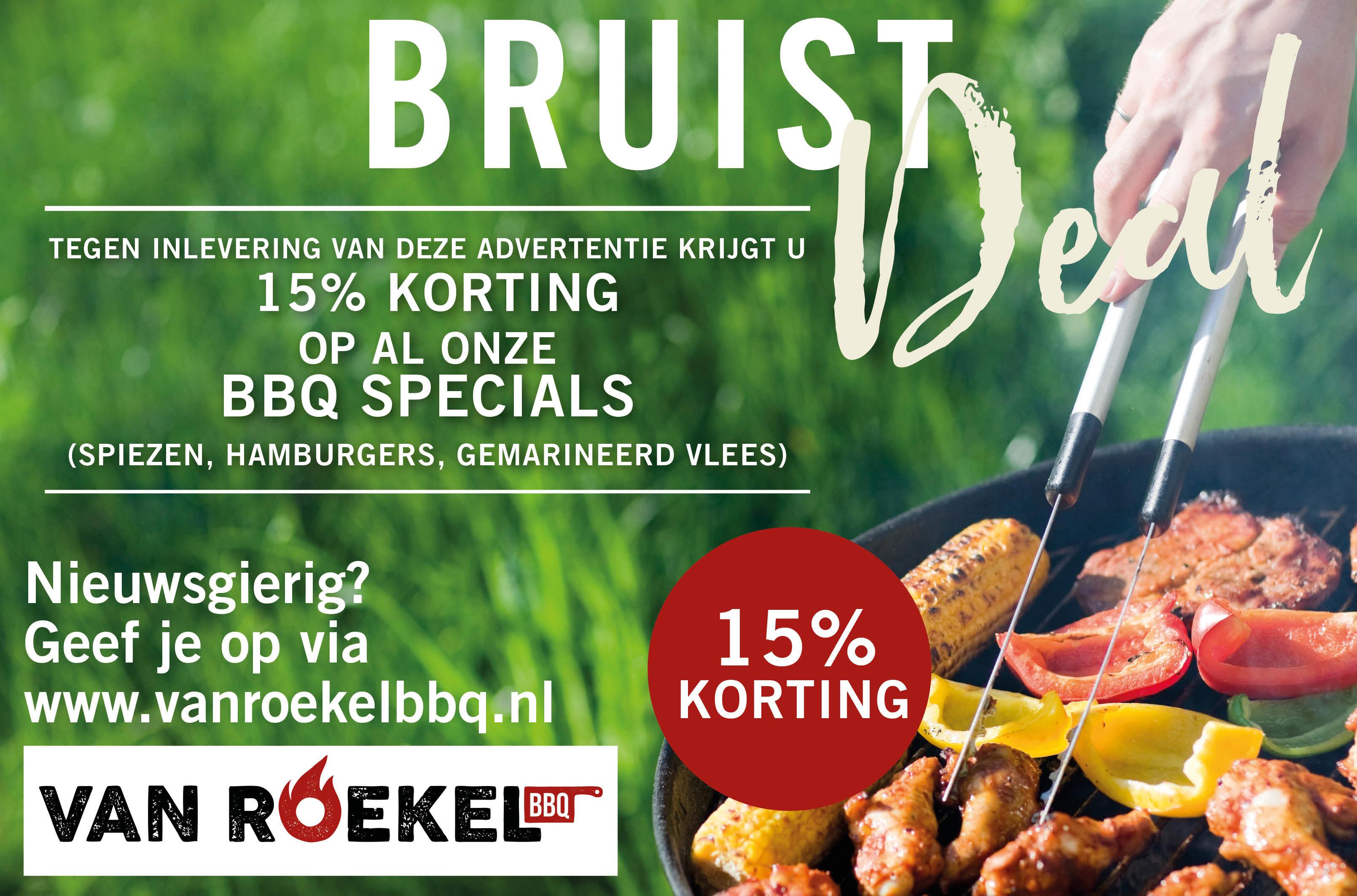 Op vertoon van de advertentie in Overbetuwe Bruist krijgt u 15% korting op al onze bbq specials (spiezen, hamburgers, gemarineerd vlees)
